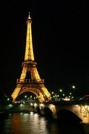 Night View of the Eiffel Tower and a Nearby Bridge by Babak Tafreshi