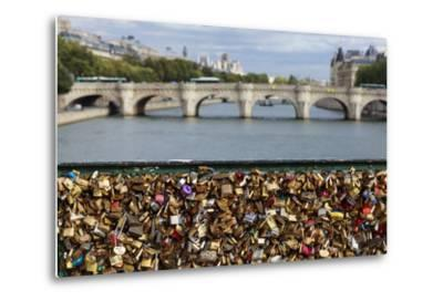 Padlocks Symbolizing Couples in Love on the Pont De L'Archeveche Bridge, on the Seine River