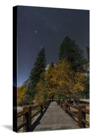 Planet Jupiter, in Constellation Taurus, Above a Footbridge over the Merced River