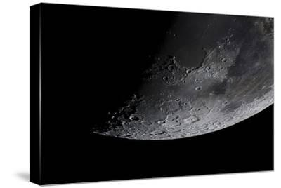 Telescopic View of the Moon with Various Craters and Lava Fields, Lunar Mares, Visible