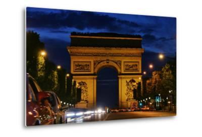 The Arc De Triomphe, and Champs-Elysees Avenue with Traffic at Night