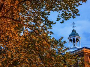 The Cupola Atop Bates College Framed by Tree Branches Bearing Autumn-Hued Leaves by Babak Tafreshi