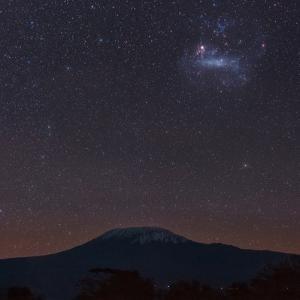 The Large Magellanic Cloud, Our Neighboring Galaxy, 160,000 Light Years Away, over Kilimanjaro by Babak Tafreshi