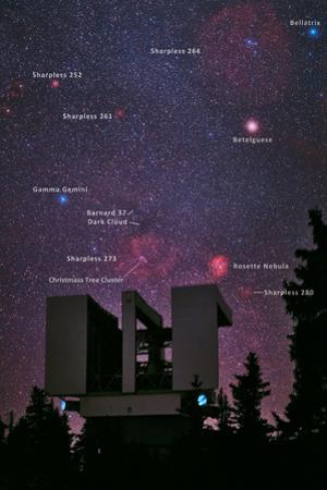 The Milky Way and the Rosette Nebula over the Large Binocular Telescope on Mount Graham by Babak Tafreshi
