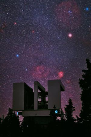 The Milky Way and the Rosette Nebula over the Large Binocular Telescope on Mount Graham by Babak Tafreshi