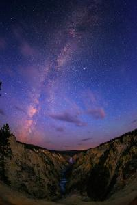 The Milky Way at Dawn over Lower Yellowstone Falls and the Yellowstone River by Babak Tafreshi