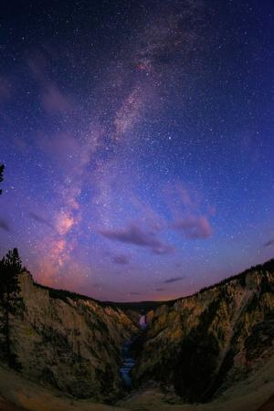 The Milky Way at Dawn over Lower Yellowstone Falls and the Yellowstone River
