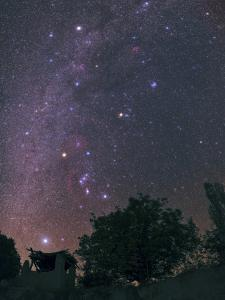 The Milky Way from Sirius to Constellations Orion, Taurus, and Auriga over a Tree and a Hut by Babak Tafreshi