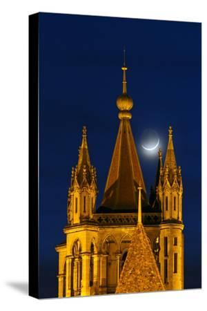 The New Moon Above the Historic Cathedral of Notre Dame, in Lausanne