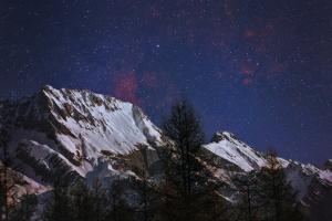 The Night Sky with Star Deneb, the North America Red Emission Nebula, and Nebula Ic 1318 by Babak Tafreshi