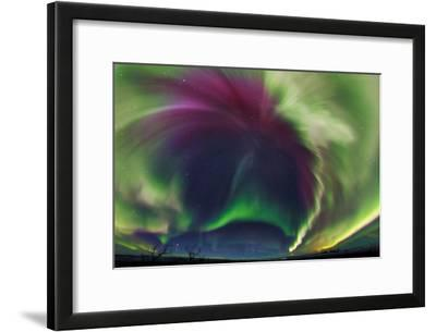 The Northrn Lights. Panoramic Projection of a Colorful Strong Aurora Outburst