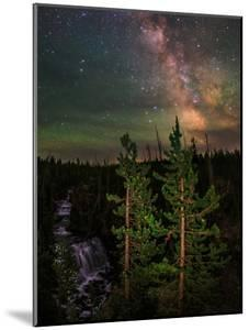 The Summer Milky Way and Green Air Glow in a Dark Starry Sky over Yellowstone National Park by Babak Tafreshi