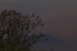 The Thin Crescent of the New Moon Appears at Dusk Near the Western Horizon by Babak Tafreshi