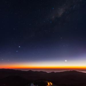 Venus, Mercury, Bright Stars Alpha and Beta Centauri, and the Milky Way over the Observatory Road by Babak Tafreshi
