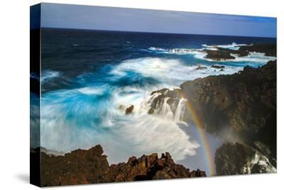 Waves and Rainbow at the Coastal Cliffs of La Palma, Canary Islands