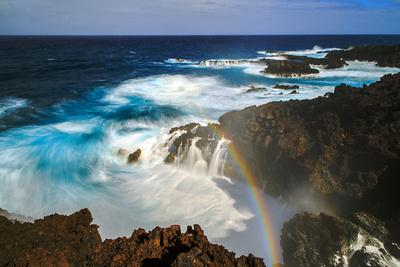 Waves and Rainbow at the Coastal Cliffs of La Palma, Canary Islands