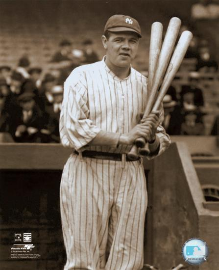 Babe Ruth - with 3 bats - ©Photofile--Photo