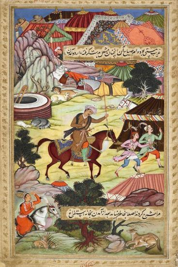 Babur Carrying a Torch Riding Drunk Through the Camp After a Celebration Party On a Boat (1519)-Shankar Gujarati-Giclee Print
