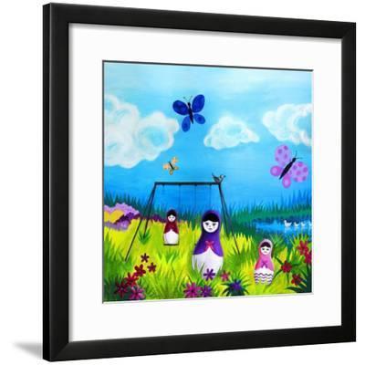 Babushka Play--Framed Art Print