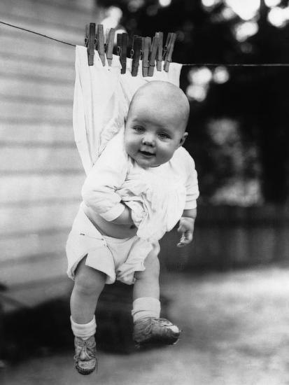 Baby (6-11 Months) Attached to Clothesline--Photographic Print