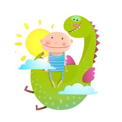 Baby and Dragon Cloud Sun Flying Happy Friends. Baby and Dragon Friendship. Animal Funny Monster, Y-Popmarleo-Art Print