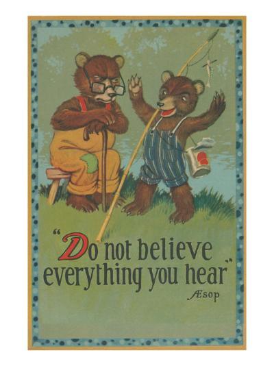 Baby Bear Telling Fish Tale--Art Print