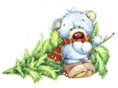Baby Bear with Christmas Tree-ZPR Int'L-Giclee Print