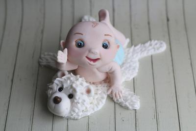 Baby Boy on Bear Rug--Photographic Print