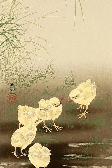 Baby Chicken and Worm!!!!-Koson Ohara-Giclee Print