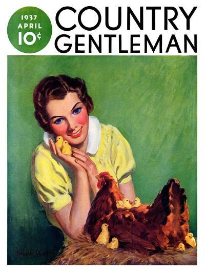"""Baby Chicks,"" Country Gentleman Cover, April 1, 1937-Tom L. Chore-Giclee Print"