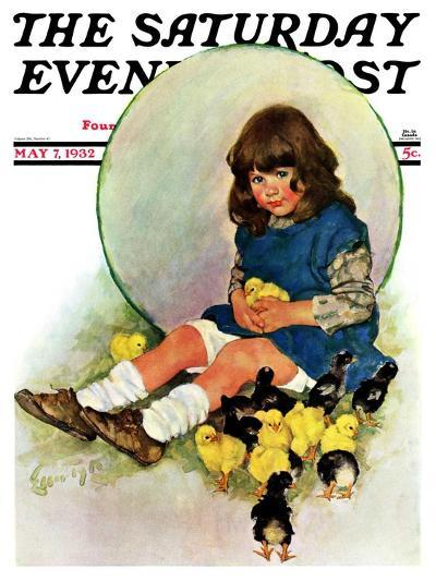 """""""Baby Chicks,"""" Saturday Evening Post Cover, May 7, 1932-Ellen Pyle-Giclee Print"""