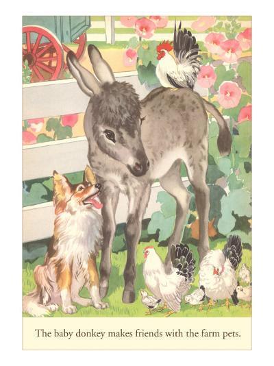Baby Donkey with Farm Animals--Art Print
