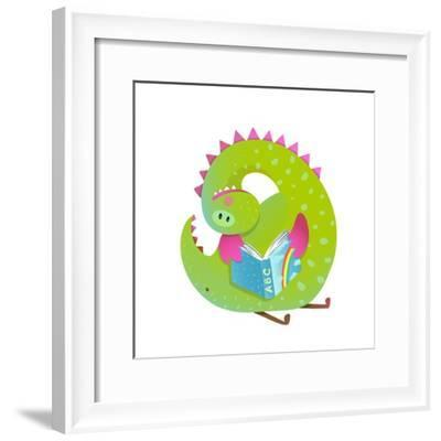 Baby Dragon Reading Book Study Cute Cartoon. Monster for Children, Funny Happy Dinosaur Drawing. Ve-Popmarleo-Framed Premium Giclee Print