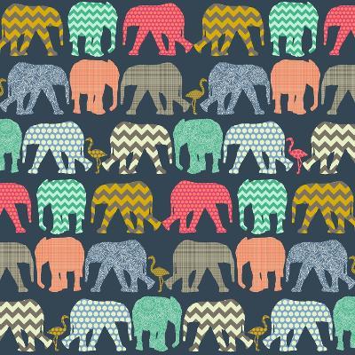 Baby Elephants and Flamingos (Variant 1)-Sharon Turner-Art Print