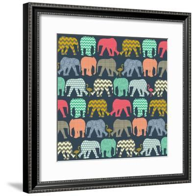 Baby Elephants and Flamingos (Variant 1)-Sharon Turner-Framed Art Print
