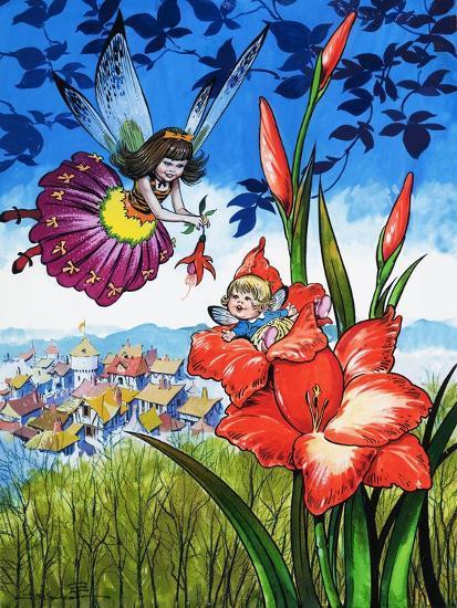 Baby Fairy in a Flower-Jesus Blasco-Giclee Print