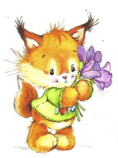 Baby Fox with Flowers-ZPR Int'L-Giclee Print