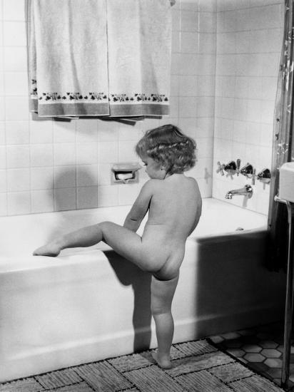 Baby Girl Climbing Into Bath Tub-H^ Armstrong Roberts-Photographic Print