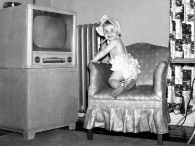 Baby Girl Wants to Watch Television, Ca. 1954--Photographic Print