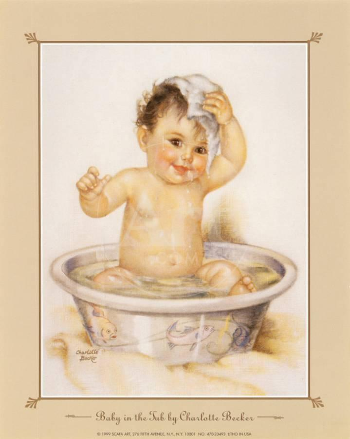 Baby in the Tub Art Print by | Art.com