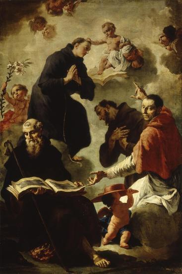 Baby Jesus Blessing Four Saints-Francesco Capella-Art Print