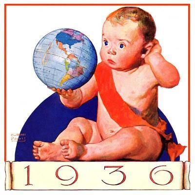 """""""Baby New Year 1936,""""January 1, 1936-William Meade Prince-Giclee Print"""