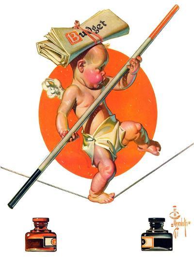 """Baby New Year Balances the Budget,""January 5, 1935-Joseph Christian Leyendecker-Giclee Print"