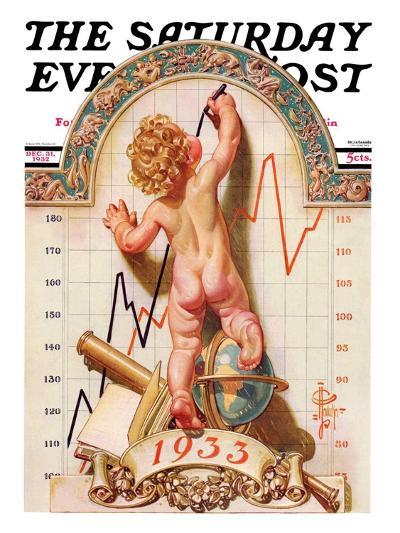 """Baby New Year Charting 1933,"" Saturday Evening Post Cover, December 31, 1932-Joseph Christian Leyendecker-Giclee Print"