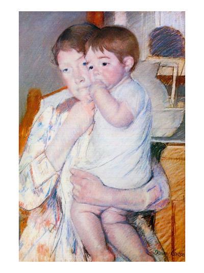 Baby On The Arm of Her Mother-Mary Cassatt-Art Print