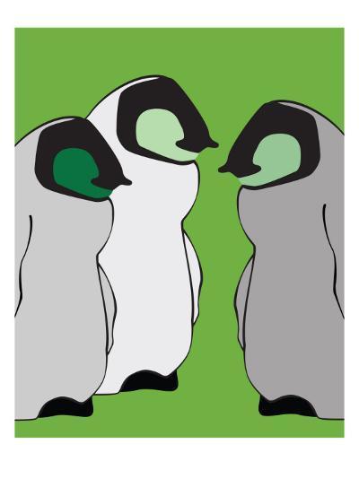 Baby Penguins in Green-Avalisa-Art Print
