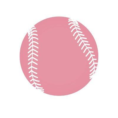 Baby Pink Softball on White-Sports Mania-Art Print