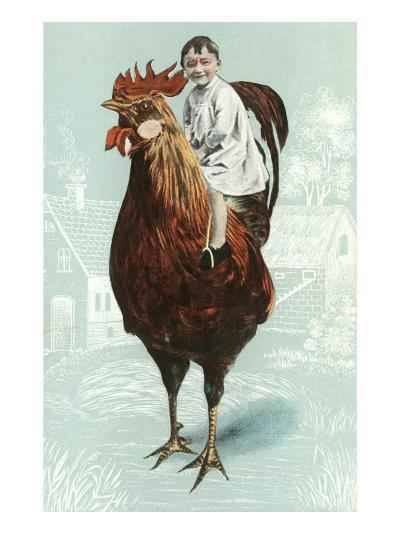 Baby Riding Giant Rooster--Art Print
