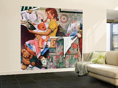"""""""Baby Sitter"""" Saturday Evening Post Cover, November 8,1947-Norman Rockwell-Wall Mural – Large"""