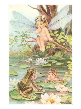 Baby with Dragonfly Wings and Frog Children--Art Print